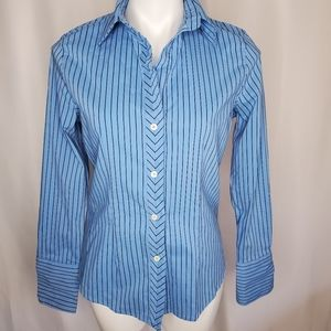 The Limited blue striped button up shirt sz M